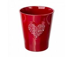 Кашпо для орхидеи Сердце (керамика) D14см красный