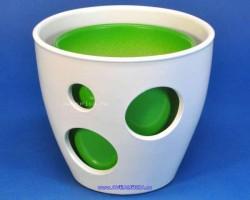 Горшок ВК из 2-х 13-10см белый+зеленый