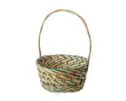 Корзина плетеная D20*10*H32см натуральный+зеленый арт.6908Gr