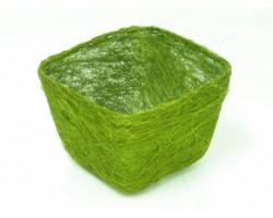 Кашпо из сизаля квадратное 10*14*14см зеленое яблоко