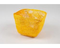 Кашпо из сизаля квадратное 10*14*14см желтый