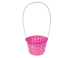 Корзина плетеная (бамбук) D13*H9.5/28см розовый