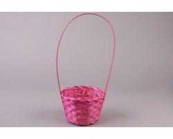 Корзина плетенная (бамбук) D13*H9.5/28см светло-розовый