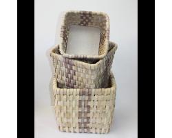 Набор корзин плетеных (секвойя) 22*22*H27см, 18*18*H20см, 14*14*H14см (3шт) натуральный с серым