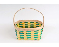 Корзина плетеная (секвойя) 23*18*H12/24см зеленый+желтый