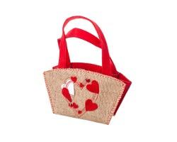 Сумочка декоративное Сердечки (фетр/джут) 20.5*10,5*12см арт.10730