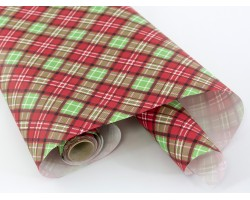 Бумага крафт Шотландка 60гр 70см*10м красный+зеленый арт.2824/67