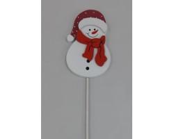 Вставка Снеговик 7*H20см белый+красный арт.FH19574R