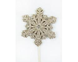 Вставка Снежинка с глиттером 8*H20см шампань арт.19HHF5926CH