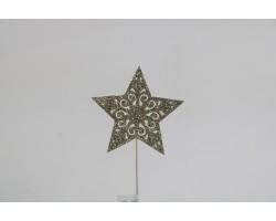 Вставка Звезда с глиттером 8*H20см шампань арт.19HHF5836CH