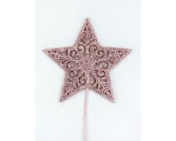 Вставка Звезда с глиттером 8*H20см розовый арт.19HHF5836PKG