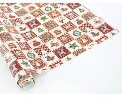 Бумага упаковочная Новогодний коллаж 70см*10м красный+кремовый