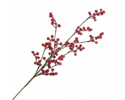 Ветка ягодная искусственная (пластик) 66см красный арт.JS42851