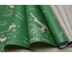 Бумага крафт 40гр/м2 70см*10м Олени зеленый