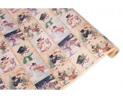 Бумага крафт 40гр/м2 72см*10м Снеговики арт.63809