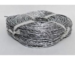 Веревка металлизированная 4мм*70м 250гр серебро арт.Р305