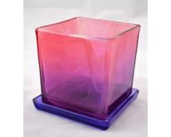 Горшок Куб 10*10см алеб.краш.розово-фиолетовый