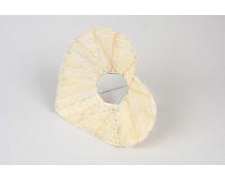 Каркас для букета Сердце с декором  (сизаль) 25см белый