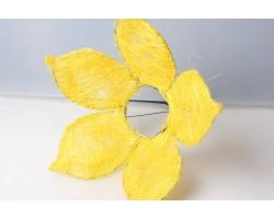 Каркас для букета Цветок с острыми лепестками (сизаль) 25см желтый