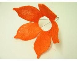 Каркас для букета Цветок с острыми лепестками (сизаль) 25см оранжевый