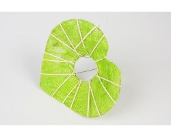 Каркас для букета Сердце с декором  (сизаль) 25см салатовый