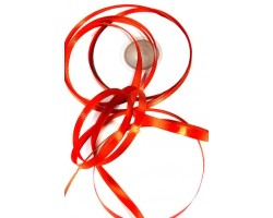 Лента атлас-сатин 06/21 0,6см*20м пламенно-красный