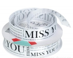 Лента Miss You атлас 25мм*50ярд белый