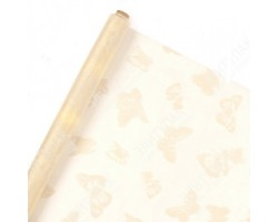 Органза с флок.рисунком Бабочки 70см*9м слоновая кость