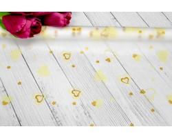 Пленка CartaPack Валентинки 70см кремовый+золото