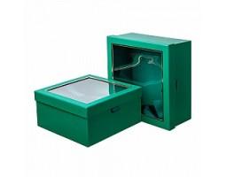 Набор коробок подарочных квадратных (2шт) 25*25*12см зеленый арт.18201-1GR