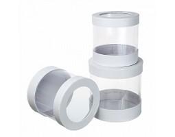 Набор коробок круглых (3шт) D17,5*H7.5см белый арт.W9813