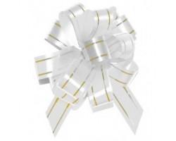 Бант шар 183/01-00 18мм с золотой полосой белый шт.