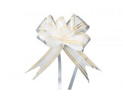 Бант бабочка с золотой полосой 32мм белый (упак.10шт)