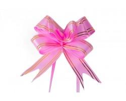 Бант бабочка с золотой полосой 32мм розовый (упак.10шт)