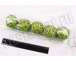 Шар из лозы светло-зеленый 6см (упак.5шт)