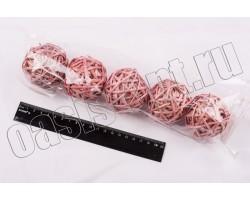 Шар из лозы розовый 6см (упак.5шт)