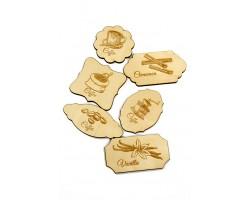 Декор деревянный 35/501 резной Табличка чай кофе сладости с гравировкой 4-5*5-9см (6шт)