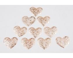 Декор сердечко ажурное №2 плоский металл золото (упак.10шт) арт.ДМ00101