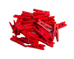 Прищепка (дерево) 2,5*0,4см (24шт) красный арт.55908