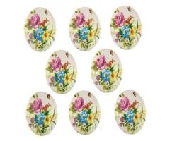 Набор декоративных элементов (акрил) 2,5*8см Букет цветов (упак.8шт)