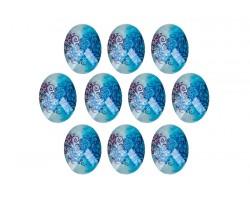 Набор декоративных элементов (пластик) 4*3см Узоры на голубом (упак.10шт)