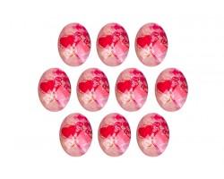 Набор декоративных элементов (пластик) 4*3см Сердца (упак.10шт) ярко-розовые