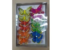 Набор бабочек на клипе 8см (12шт) арт.1811-12/8cm