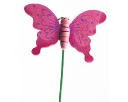 Бабочка на вставке 6*8*H21см розовый