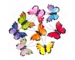 Бабочки Шоколад на прищепке 6см (упак.8шт) арт.16230