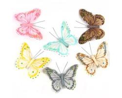 Бабочки Рассвет на прищепке 10см (упак.6шт) арт.16237