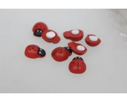 Набор божьих коровок клеящихся 1,5см (упак.24шт) красный