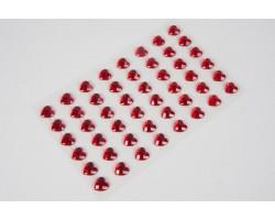 Наклейки на листе стразы Сердце 10мм (48шт) красный арт.169944111