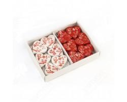 Сердца декоративные Весна на липучке красные/белые 2,5см (упак.24шт) арт.1106031