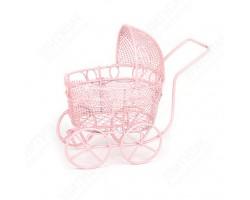 Коляска миниатюрная ажурная розовая арт.КМ001
